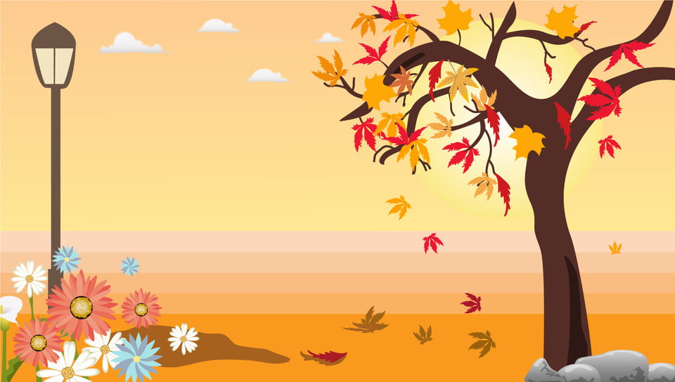 pngtree cute cartoon autumn road maple background backgroundroad backgroundmaple backgroundstreet image 53300
